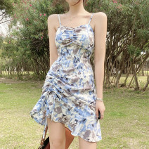 Dress Summer 2021 Blue, pink S,M,L Short skirt singleton  Sleeveless street High waist Broken flowers Socket A-line skirt camisole 18-24 years old Type A Pleating, backless, tie dyeing, printing OMVCD12696 51% (inclusive) - 70% (inclusive) Chiffon polyester fiber Europe and America