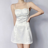 Dress Summer 2021 white S,M,L Short skirt singleton  Sleeveless commute One word collar High waist Solid color Socket A-line skirt routine camisole 18-24 years old Type A Korean version backless OMMCD11940 91% (inclusive) - 95% (inclusive) polyester fiber
