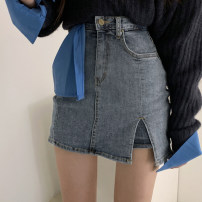 skirt Summer 2020 S,M,L,XL Blue, light blue, black Short skirt street High waist skirt Solid color Type H 18-24 years old OMD0860W0C 71% (inclusive) - 80% (inclusive) Denim cotton Europe and America