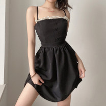 Dress Summer 2021 black Average size Short skirt singleton  Sleeveless street High waist other Socket A-line skirt camisole 18-24 years old Type A Lace, stitching, lace OMVCD12900 30% and below other cotton Europe and America