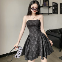 Dress Summer 2021 black S,M,L Short skirt singleton  Sleeveless street One word collar High waist Solid color Socket A-line skirt other Breast wrapping 18-24 years old Type A Backless, embroidered LXMCD12565 91% (inclusive) - 95% (inclusive) other polyester fiber Europe and America