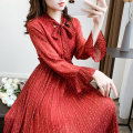 Dress Autumn 2020 gules Average size Mid length dress singleton  Long sleeves commute V-neck Elastic waist Broken flowers Socket Pleated skirt Lotus leaf sleeve Others 18-24 years old Type H Korean version Bow tie 31% (inclusive) - 50% (inclusive) Chiffon polyester fiber