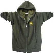 Sweater Youth fashion hugeans Black, army green, 8869 dark grey, cow blue, 8869 black M,L,XL,2XL,3XL,4XL,5XL Solid color Cardigan Plush Hood winter easy motion Large size Youthful vigor routine Flannel other Embroidery Side seam pocket zipper