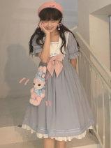 Dress Spring 2021 Water blue Small, large Mid length dress singleton  Sleeveless Sweet High waist 18-24 years old Type A SanKouSan sks1767