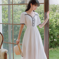 Dress Summer 2021 S,M,L Mid length dress singleton  Short sleeve commute square neck High waist Solid color Single breasted puff sleeve 18-24 years old Type A Retro 966# 31% (inclusive) - 50% (inclusive) Chiffon cotton