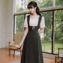 Dress Summer 2021 black S,M,L Middle-skirt singleton  Short sleeve commute square neck High waist Solid color zipper A-line skirt other 18-24 years old Type A Retro Splicing 31% (inclusive) - 50% (inclusive)