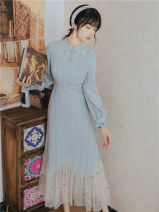 Dress Spring 2021 wathet S,M,L Middle-skirt singleton  Long sleeves commute stand collar middle-waisted Solid color Cake skirt bishop sleeve Others 18-24 years old Type A Other / other Retro Stitching, lace 919#