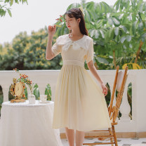 Dress Summer 2021 Blue, yellow S,M,L Mid length dress singleton  Short sleeve commute Doll Collar High waist Solid color Socket A-line skirt other 18-24 years old Type A literature Bowknot, stitching