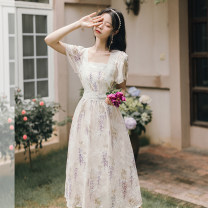 Dress Summer 2021 S,M,L Mid length dress singleton  Short sleeve commute square neck High waist Decor zipper A-line skirt pagoda sleeve 25-29 years old Type A literature Stitching, lace, print 31% (inclusive) - 50% (inclusive)
