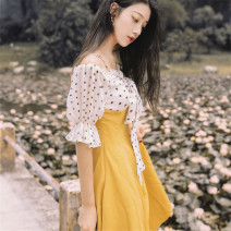 Dress Summer 2021 Ginger  S,M,L Mid length dress singleton  Short sleeve commute One word collar High waist Dot other A-line skirt puff sleeve 18-24 years old Type A Other / other Retro Bows and flowers 6641#