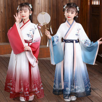 Tang costume Blue, Korean red, sleeve red, bright blue 110,120,130,140,150,160,170 Polyester 100% female spring and autumn There are models in the real shooting routine Cotton blended fabric Class A other Cotton liner Chinese Mainland Jiangsu Province Suzhou