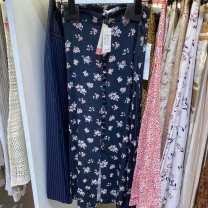 skirt zipper polyester fiber Natural waist Summer 2020 XS dark blue