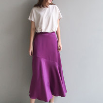 skirt Summer of 2018 S,M,L,XL,2XL longuette Retro High waist Splicing style Solid color Type A Crepe de Chine other 121g / m ^ 2 (including) - 140g / m ^ 2 (including)