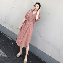 Dress Spring of 2019 Bean paste powder S,M,L,XL,2XL Mid length dress singleton  elbow sleeve commute Polo collar High waist Solid color Single breasted other shirt sleeve Others Korean version other