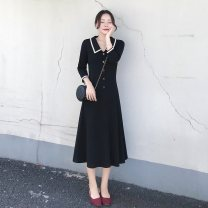 Dress Autumn of 2019 black M,L,XL,2XL Mid length dress singleton  three quarter sleeve commute Doll Collar High waist Solid color Socket other routine Others Retro 31% (inclusive) - 50% (inclusive) cotton