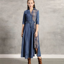 Dress Autumn of 2019 Tannin blue S,M,L,XL Mid length dress singleton  elbow sleeve commute Polo collar middle-waisted lattice Single breasted Big swing routine Others 25-29 years old Type H Retro Sticking cloth 91% (inclusive) - 95% (inclusive) Denim cotton