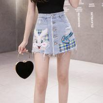 skirt Summer 2021 S,M,L,XL,2XL blue Short skirt Versatile High waist A-line skirt Type A 18-24 years old 81% (inclusive) - 90% (inclusive)