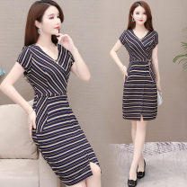 Dress Summer 2020 Yellow, red L,XL,2XL,3XL,4XL,5XL Middle-skirt singleton  Short sleeve commute Crew neck middle-waisted Decor Socket One pace skirt routine Others 40-49 years old Korean version printing other