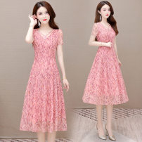 Dress Summer 2021 Blue, pink L,XL,2XL,3XL,4XL Mid length dress singleton  Short sleeve commute middle-waisted Decor Socket A-line skirt Others 35-39 years old Korean version printing other polyester fiber