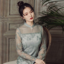 Dress Spring 2020 Blue grey S,M,L Mid length dress singleton  Nine point sleeve commute stand collar High waist other zipper A-line skirt other Others 25-29 years old Type X Su Yi Retro Hollow out, Gouhua hollow out, splicing, three-dimensional decoration, mesh, lace Idle flowers and shadows Lace