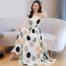 Dress Summer 2020 White, black S,M,L,XL,2XL,3XL,4XL longuette singleton  Short sleeve commute square neck High waist Dot zipper Big swing Flying sleeve Others 35-39 years old Type A Other / other Korean version 31% (inclusive) - 50% (inclusive) Chiffon