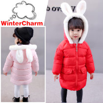 Cotton padded jacket Belle Red pink 80cm 90cm 100cm 110cm 120cm No detachable cap other female thickening Zipper shirt Korean version There are models in the real shooting Cartoon animation Crew neck Polyester 100%