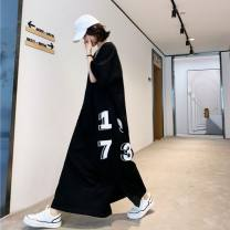 Dress Summer of 2019 black L,XL,2XL longuette singleton  Short sleeve commute V-neck letter Socket routine Type H cotton