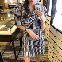 suit Summer 2020 Black and white check Average size Short sleeve Medium length Self cultivation tailored collar double-breasted commute puff sleeve lattice 18-24 years old Button