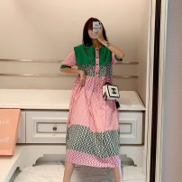 Dress Summer 2021 green Middle-skirt Fake two pieces Short sleeve commute Crew neck Loose waist lattice Socket Princess Dress Princess sleeve Others 25-29 years old Type A PINK DAISY Korean version Gouhua, hollow out, stitching, lace 31% (inclusive) - 50% (inclusive) Chiffon other
