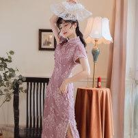 cheongsam Summer 2020 XS,S,M,L violet Short sleeve long cheongsam Retro Low slit Round lapel Solid color