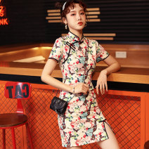 cheongsam Spring 2021 XXL,S,M,L,XL Butterfly Short sleeve Short cheongsam Retro High slit daily Oblique lapel Solid color 18-25 years old Piping D2119 96% and above