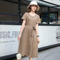 Dress Summer 2020 Dark blue, Khaki M,L,XL singleton  Short sleeve routine Other / other hemp