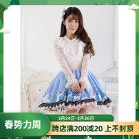 skirt Spring 2016 XS,S,M,L,XL blue Short skirt Sweet Natural waist Pleated skirt More than 95% knitting polyester fiber Mori