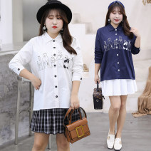 shirt Navy White XL XXL XXXL 4XL Autumn of 2019 polyester fiber 96% and above Long sleeves commute Regular Polo collar Single row multi button routine Solid color 30-34 years old Straight cylinder Bdodo / loser Korean version Polyester 100% Pure e-commerce (online only)