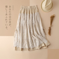 skirt Spring 2020 Average size Khaki, black, coffee Mid length dress Versatile High waist Pleated skirt Solid color 51% (inclusive) - 70% (inclusive) other hemp