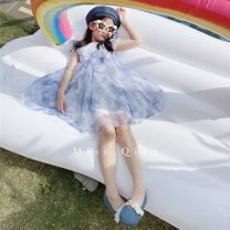 Dress Water blue female Other / other 90cm,100cm,110cm,120cm,130cm,140cm,150cm Other 100% summer Korean version Short sleeve Abstract pattern other Big swing Class A Chinese Mainland