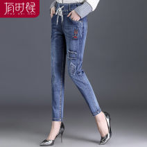 Middle aged and old women's wear Spring of 2019 blue fashion trousers easy singleton  Solid color 40-49 years old moderate JF1801 occasionally Embroidery cotton Cotton 80% polyethylene terephthalate (polyester) 15% polyurethane elastic fiber (spandex) 5% 71% (inclusive) - 80% (inclusive) trousers