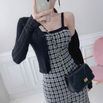 Dress Summer 2021 black Average size Short skirt Two piece set commute square neck middle-waisted lattice Socket One pace skirt camisole 25-29 years old Type H Korean version Open back, button More than 95% knitting cotton