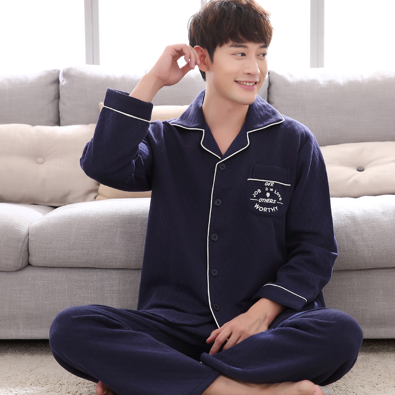 Pajamas / housewear set male Other / other L(170) XL(175) XXL(180) XXXL(185) 9137 Baolan small lattice 9142 high end 9241 ා 9246 # 9274 # dark blue cotton Long sleeves luxurious Leisure home autumn thickening Small lapel lattice trousers Front buckle youth 2 pieces rubber string More than 95% 280g
