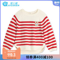 Sweater / sweater 80cm 90cm 100cm 110cm 120cm other female Red and white Aierjian princess There are models in the real shooting Socket Crew neck nothing Ordinary wool stripe Polyacrylonitrile fiber (acrylic fiber) 52% wool 48% Class B Long sleeves Autumn of 2019 spring and autumn Chinese Mainland
