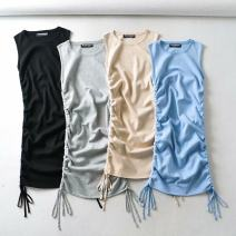 Dress Autumn 2020 Black, blue, gray, khaki Average size singleton  Sleeveless Crew neck Solid color Socket 18-24 years old cotton