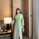 Women's large Spring 2021 Light green Big L, big XL, big XXL, big XXXL, big XXXXL, big XXXXL Dress singleton  commute easy thick Socket Long sleeves Solid color Britain V-neck routine Three dimensional cutting Princess sleeve GLEC belt 96% and above Medium length Princess Dress Hollowing out zipper