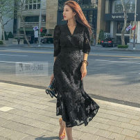 Dress Spring 2020 black S,M,L,XL Mid length dress singleton  elbow sleeve commute V-neck High waist Solid color Socket Ruffle Skirt routine Others 25-29 years old Type X Other / other Ol style 81% (inclusive) - 90% (inclusive) Chiffon polyester fiber