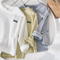 T-shirt White, yellow, gray Other / other 90cm,100cm,110cm,120cm,130cm,140cm,150cm male spring and autumn Long sleeves Crew neck leisure time No model nothing cotton Solid color Sweat absorption 18 months, 2 years old, 3 years old, 4 years old, 5 years old, 6 years old, 7 years old, 8 years old