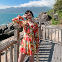Dress Spring 2021 Picture color S,M,L,XL Short skirt singleton  Long sleeves Sweet Lotus leaf collar High waist Decor Socket A-line skirt Lotus leaf sleeve Others 25-29 years old Type A Ruffle, print 31% (inclusive) - 50% (inclusive) Chiffon polyester fiber Bohemia