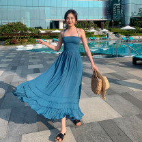 Dress Summer 2021 royal blue S,M,L longuette singleton  Sleeveless Sweet other High waist Solid color Socket Ruffle Skirt Hanging neck style 25-29 years old Type A Lotus leaf edge 31% (inclusive) - 50% (inclusive) other cotton Bohemia