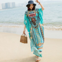 Dress Summer 2021 Orange, purple, red, green, navy Average size longuette singleton  elbow sleeve commute V-neck Loose waist Decor Socket A-line skirt Bat sleeve Others 25-29 years old Type A ethnic style Lace up, printed 31% (inclusive) - 50% (inclusive) other cotton