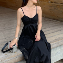 Dress Summer 2021 black S,M,L,XL Mid length dress singleton  Sleeveless Sweet V-neck High waist Solid color Socket Lantern skirt camisole 18-24 years old Type X backless 51% (inclusive) - 70% (inclusive) other cotton Bohemia
