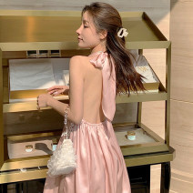 Dress Summer 2021 Pink S,M,L Short skirt singleton  Sleeveless Sweet V-neck High waist Solid color Socket Big swing Hanging neck style 18-24 years old T-type Bare back, bandage 51% (inclusive) - 70% (inclusive) Silk and satin polyester fiber Bohemia