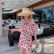 Dress Summer 2021 Picture color S,M,L,XL Short skirt singleton  Short sleeve commute One word collar High waist Decor Socket One pace skirt puff sleeve Breast wrapping 18-24 years old T-type Korean version Backless, printed 31% (inclusive) - 50% (inclusive) Chiffon other